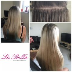 """Love this stretched roots! Our Nano tips are so tiny they blend perfect with any hair type - this photo is a Full head 16"""" of our European La Bella Hair Extensions £390 ⭐️ #highqualityhairextensions #hair #hairextensions #discreethairextensions #labellahairextensions #blonde #hairblog #hairextensionskent #stretchedroots #hairextensionsessex #hairextensionssurrey #mobilehairextensions"""