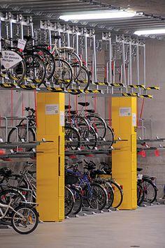 Public Roads - Handy Lessons From Overseas on Walking and Bicycling , Jan/Feb 2010 - Bicycle Garage, Bicycle Rack, Bike Storage Office, Locker Storage, Velo Design, Bicycle Design, Bike Room, Bike Parking, Wayfinding Signage
