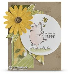 This Little Piggy, Daisy Delight, Delightful Daisy dsp, Layering Circles Framelits, Daisy Punch - all from Stampin' Up!