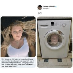 When you ask James Fridman for help you're going to get played with. Photoshop is a powerful tool; The internet is also a powerful tool, but most people who own photoshop and love the internet are gonna be troll. Here is such troll. Funny Photoshop Fails, Funny Fails, Photoshop Pro, Funny Photoshop Requests, Troll, Haha Funny, Funny Jokes, Funny Stuff, Hilarious Texts