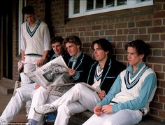 Thirty Years On: A Private View of Public Schools - At Rugby school, 1st XI cricketers are unique in wearing duck-egg blue shirts instead of the standard white ones. It used to be the case, that all cricket teams wore different colours before the end of the 19th century