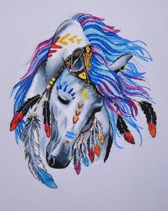 Indian horse cross stitch pattern
