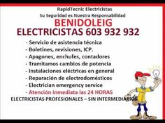 Electricistas BENIDOLEIG 603 932 932 Baratos