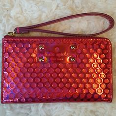 New Kate Spade Pink Wallet/Wristlet Never used. Comes with car card. Lots of pockets! kate spade Bags Clutches & Wristlets