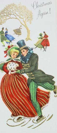 christmas couple ice skating