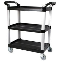 Winco USA Utility Cart, Black: Winco 3 tier black utility cart is designed for commercial use. An deal way to transport food trays or janitorial supplies. Commercial Office Furniture, Rolling Utility Cart, Indoor Flower Pots, Plastic Shelves, Janitorial Supplies, Professional Kitchen, Food Service Equipment, Home