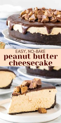 No Cook Cheesecake, Chocolate Peanut Butter Cheesecake, Peanut Butter No Bake, Baked Cheesecake Recipe, Cheesecake Desserts, Peanut Butter Recipes, Peanutbutter Cheesecake Recipes, No Bake Cheescake, Easy No Bake Desserts
