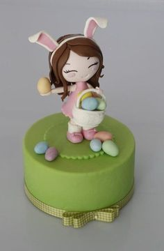 An Easter girl Cake by AliceInSugarland Mini Tortillas, Marzipan, Fondant Cakes, Cupcake Cakes, Easter Cake Toppers, Chocolate Cake Designs, Rose Cookies, Spring Cake, Baby Birthday Cakes
