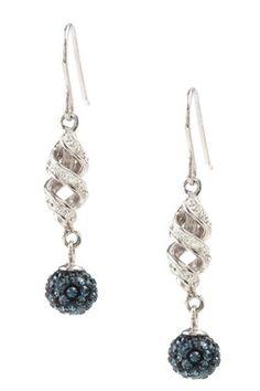 Montana Blue & White Swarovski Crystal Swirl Dangle Earrings