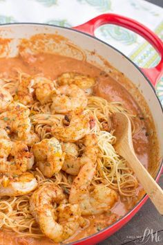 Shrimp Pasta in Spicy New Orleans Tomato Cream Sauce is a completely satisfying meal and ideal combination of flavors from hot and spicy to tangy and creamy. Shrimp Pasta in Spicy New Orleans Tomato Cream Sauce Andrea Burton Yummy Shri Cajun Shrimp Pasta, Shrimp Pasta Recipes, Shrimp Dishes, Cajun Recipes, Fish Recipes, Seafood Recipes, Dinner Recipes, Cooking Recipes, Healthy Recipes