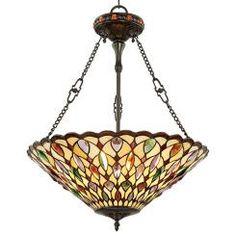 Robert Louis Tiffany Art Glass & Crystal Pendant Light