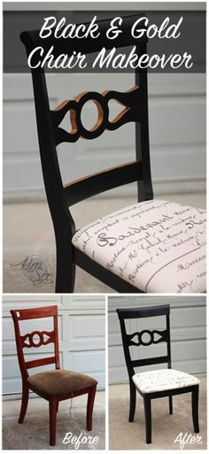 New upholstery, black paint and a touch of gold metallic, bring this 3 dollar thrift store chair out of the office and into the dining room. What a transformation! .jpg