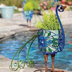 Filigree Bird Planter, Peacock Planter, Metal Filigree Planter | Solutions
