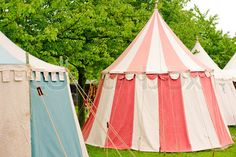 medieval tent via mahala knight pink and white striped tent cyan and white striped tent