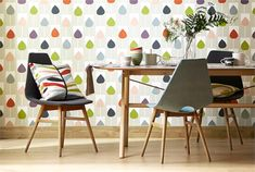 """This graphic tulip is from the new Scion wallpaper book. I'm glad the description said """"tulip"""" as I would be the person to hang it upside down. Available at Hirshfield's"""