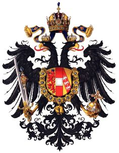 Arch-Duchy of Austria, by Hugo Gerhard Ströhl, -- The small arms of Arch-Duchy of Austria combine the lion of the Habsburg dynasty with the silver bar of the Duchy of Austria and the arms of Lotharingen (now Lorraine, France). German Tattoo, Dragons, Austrian Empire, Holy Roman Empire, Austro Hungarian, Family Crest, Crests, Military History, Coat Of Arms
