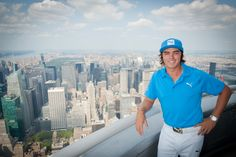 August 20, 2013: @PGA TOUR pro Rickie Fowler helped light our tower in Barclays blue and white to kick off the @FedEx Cup Playoffs, which begin this week in Jersey City, NJ.