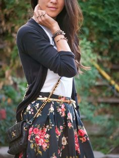 Floral Printed Skirt and Long Strap Bag