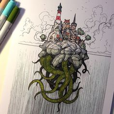 Chucked a bit of colour at my picture 'Of Secrets Beneath the Waves'. #illustration #Copic #Cthulhu | by rob_turpin