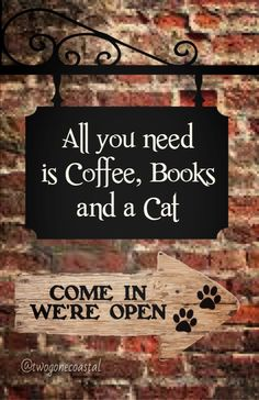 All you need is coffee, books, and a cat @twogonecoastal