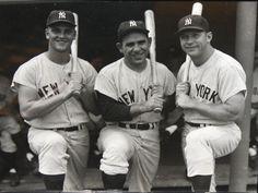 2 of my favorite Yankees.  L-R: Roger Maris, Yogi Berra, The Mick, Mickey Mantle