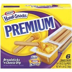 Kraft Handi-Snacks Premium Breadsticks 'n Cheese Dip - IMPORTANT: Please read ingredient labels. Manufacturers continually change packaging and processing.