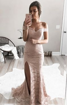 Cheap Cute Prom Dresses Mermaid Off-the-Shoulder Split-Side Sweep Train Pink Lace Prom Dress Mermaid Prom Dresses Lace, Prom Dresses 2018, Long Prom Gowns, Sexy Dresses, Bridesmaid Dresses, Lace Mermaid, Dress Prom, Formal Gowns, Wedding Dress
