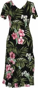 Pink Hibiscus - Ladies Rayon Bias Cut V-Neck Dress - Black