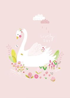 Aless Baylis 'A4 Poster Lovely Day Zwaan'