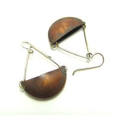 Boat Earrings in Copper and Silver by adornandconquer on Etsy, $60.00