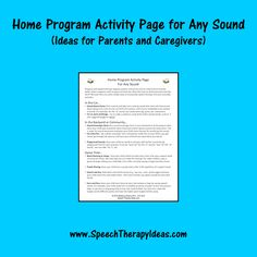Home Program Activity Page for Any Sound - Ideas for Parents and Caregivers