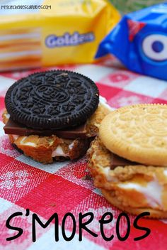 My Kitchen Escapades: S'mOREOS. S'mores made with oreos instead of graham crackers.