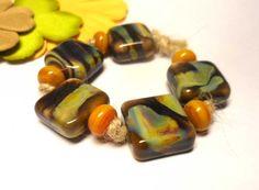 Lampwork  Glass bead handmade  Beads mustard  by Glasskaramelka