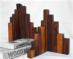 Rustic Wood Bookends Walnut Set of 2 Wood Art by DynastiMillworks