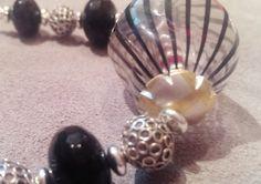 Vintage Venetian Bead Necklace  Black Twist by SpurwinkRiverArts