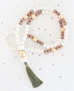 Tassel Necklace, Beaded Tassel Necklace, Statement Necklace, Olive Green, Gold, White, and Light Wood Bead Tassel Necklace, Tassel Jewelry by SweetAuburnStudio on Etsy https://www.etsy.com/listing/258712626/tassel-necklace-beaded-tassel-necklace
