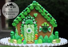 A gingerbread house for St. Patrick's Day! Would be cute with some red candies and snow for Christmas! www.gingerbreadjournal.com for a tutorial