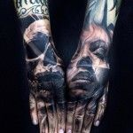 Both Hands Face and Skull tattoo by Jak Connolly