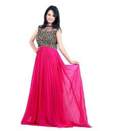 Buy pink georgette embroidered semi stitiched party wear gown party-wear-gown online