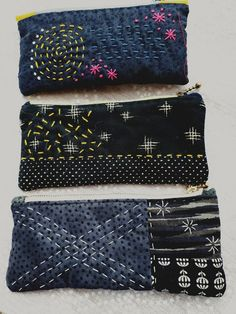 Sashiko pouches pencil cases.
