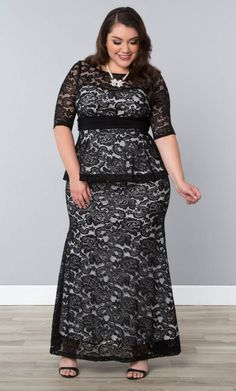 Feel like the belle of the ball in our Astoria Lace Peplum Gown #PlusSize #PlusSizeClothing www.curvaliciousclothes.com