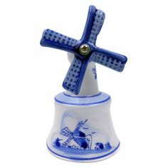 """Ceramic delft blue of a windmill bell that will add a Dutch theme to your home! - Approximate Dimensions (Length x Width x Height): SMALL: 3x1.5x1.5"""" / LARGE: 4x2.25x2.25"""" - Material Type: Ceramic"""