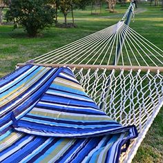 Prime Garden 2 person Rust Resistant 15FT. 4-Piece Heritage Hammock Essential Package, Weight Limit 450 lb.100% Cotton Rope, Polyester Pad and Pillow Combo,Green Coated Steel Frame,Hammock Stand Wheel Kit included