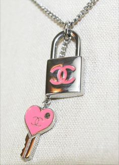 Pink Chanel Lock and Key Pendant Coco Chanel, Baby Chanel, Chanel Necklace, Chanel Jewelry, Jewelry Box, Jewellery, Pink Love, Pretty In Pink, Fashion Accessories