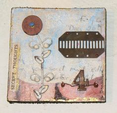 This is an original mixed media Assemblage collage on repurposed wood by Tina Gilmore.