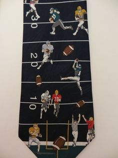 Football Necktie, Sports Novelty, Jock Necktie, Museum Artifacts, Silk necktie, New Old Stock, Still has tags, Casual Friday, Gift for Him by TomCatBazaar on Etsy