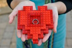Lego wedding ring box. LOVE THIS! I would add a little ribbon to secure the rings.