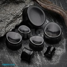 A Pair of Black Onyx Concave Stone Teardrop Double Flared Plug