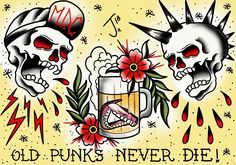 Old punks never die flash #punk #oldpunksneverdie #punkrock #punktattoo #traditional #tattoo #traditionaltattoo #oldschooltattoo #skulltattoo #beertattoo #olomouctattoo #wacomtattoo #sketchbookpro
