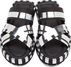 Acne Studios Black & Silver Metallic Stripe Kleate Sandals